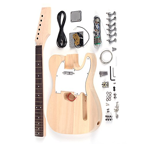 ammoon Tele Style Unfinished DIY Electric Guitar Kit Basswood Body Maple Neck Rosewood Fingerboard (Maple Body Kit)