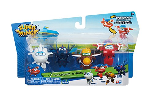 "Super Wings Transform-a-Bots 4 Pack | | Flip, Todd, Agent Chase, Astra, | 2"" Scale"