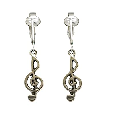 Silver Charm Music Clip On Earrings Treble Clef Lovely Musical Style