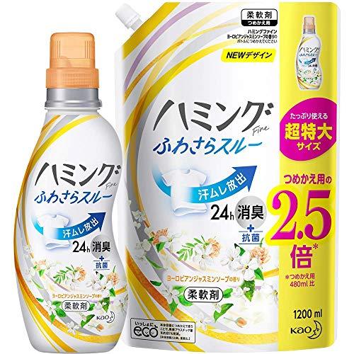 【まとめ買い】ハミングFine ヨーロピアンジャスミンソープの香り 本体+詰替用 1200ml