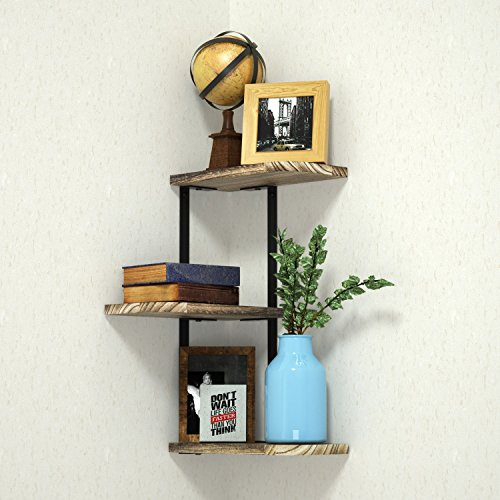 Love-KANKEI Corner Shelf Wall Mount of 3 Tier by, Rustic Wood Floating Shelves for Bedroom, Living Room, Bathroom, Kitchen, Office and More (Mount Wood Shelf Wall)