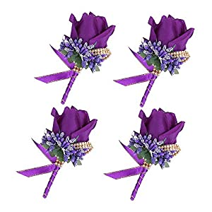 Febou Boutonniere 4PCS Wedding Boutonniere Handmade Rose Boutonniere Corsage with Pin and Clip for Groom Bridegroom Groomsman Perfect for Wedding, Prom, Party(4 Packs, Purple) 52