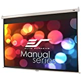 Elite Screens Manual, 150-INCH 16:9, Pull Down  Manual Projector Screen with Auto Lock, 8K / 4K Ultra HD 3D Ready, 2-YEAR WARRANTY, M150XWH2