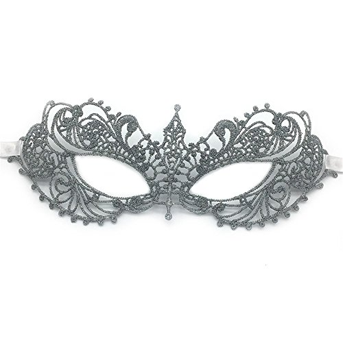 Mardi Gras Party Masquerade Mask,Film and Television mask Gold Thread Silver line with Diamonds Half face lace mask Makeup Dance Party Fun mask Goggles Silver Prom Masks