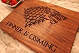 Game of Thrones Merchandise, Game of thrones Gift, Boyfriend Gift, Walnut Wood Cutting Board made in the USA - Winter is Here, Dinner is Coming