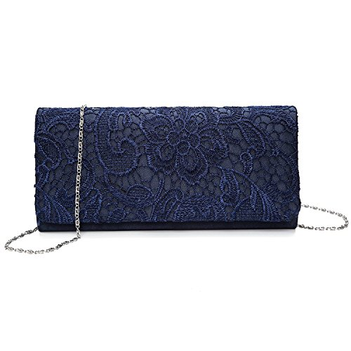 SISJULY Women's Lace Floral Clutches Evening Bags Purse for Wedding Party Bridal Handbags, Dark Blue