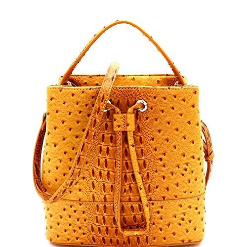 Bucket Bag Embossed - Ostrich Embossed String Accent 2-Way Bucket Satchel Bag