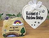 Pet Remembrance Rainbow Bridge Ornament and Decorative Stone Rock - 2 Piece Gift Set