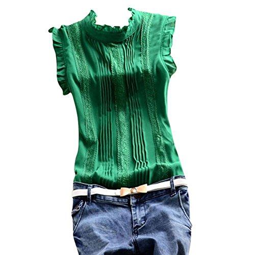 Green Sleeveless Cotton Shirt (Soly Tech Women Summer Sleeveless Office Work Casual T-Shirt Tops Blouses)