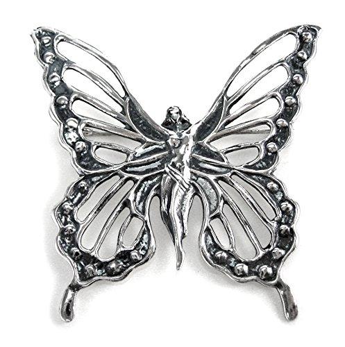Sterling Silver Lady Butterfly Brooch Pin - Sterling Silver Butterfly Brooch Pin