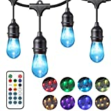Chende 48ft Color Changing Outdoor String Lights for Patio, Commercial Grade Hanging LED Café Lights with Smart Remote, Weatherproof Outside Party Lights with 15 Dimmable Bulbs