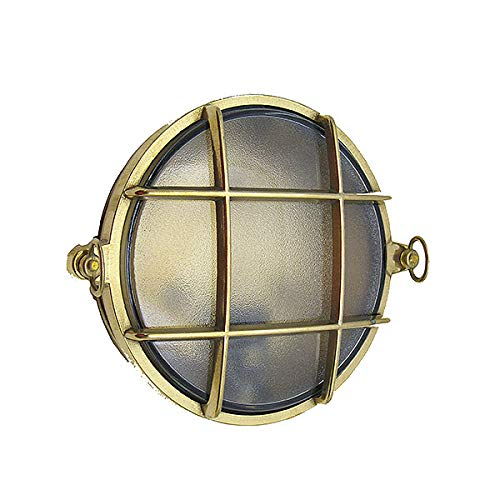 Small Round Cage Bulkhead Sconce (Indoor/Outdoor) (Unlacquered Brass, Interior Use (Dry))