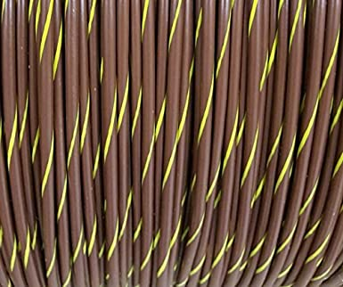 14 AWG Spiral Stripe Tracer Marine Primary Wire, Brown with Yellow ...