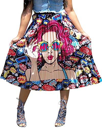 Women's Graffiti Pleated Skirts Lady Letter Print High Elastic Waist Long Swing Vintage A-Line Midi Skirt Red Hair M