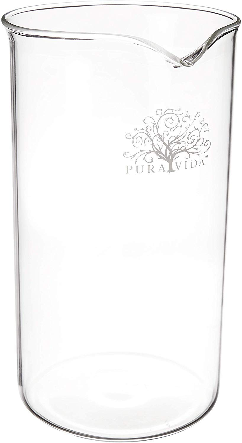 Pura Vida French Press Replacement Glass 8 Cup, 34 Ounce, Universal Fit for Bodum Bonjour - THICK Heat Resistant Borosilicate Glass Carafe - Spare French Press Beaker for 34 oz, 1000 ml Coffee Press