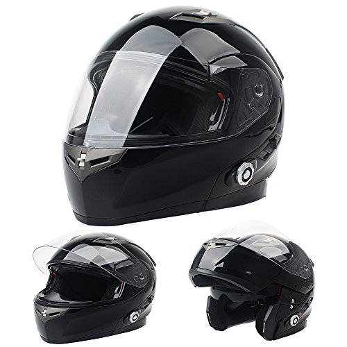 FreedConn Bluetooth Motorcycle Helmet ,Integrated Modular Flip up Full or Half Face Dual Visor Built-in Bluetooth Intercom Communication System FM Radio ( Gloss black, L)