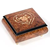 Double Hearts Italian Hand Crafted Inlaid Wood Jewelry Music Box Plays Ode to Joy
