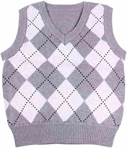 d6cc3c557e49e Enimay Kids School Uniform Knit Sweater V-Neck Vest Argyle Pattern Pullover