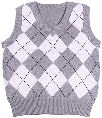 Enimay Kids Knit Sweater Vest V-Neck Argyle Pattern Pullover Grey | White 11-12 Year ()