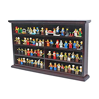 Kid-Safe Toy Minifigures Miniatures Figurines Display Case Wall Cabinet Stand, with Dust Protection (Mahogany)