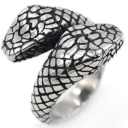 MAFYU European Fashion Retro Men's Double-Headed Snake Titanium Steel Ring ()