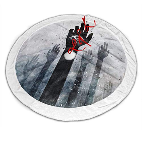 Grunge Hands Illuminati Alex Cherry Arms Raised Christmas Tree Skirt Mat for Halloween Holiday Party Home Indoor Outdoor Decoration Grunge Hands Illuminati Alex Cherry Arms Raised (Illuminati Tree Christmas)