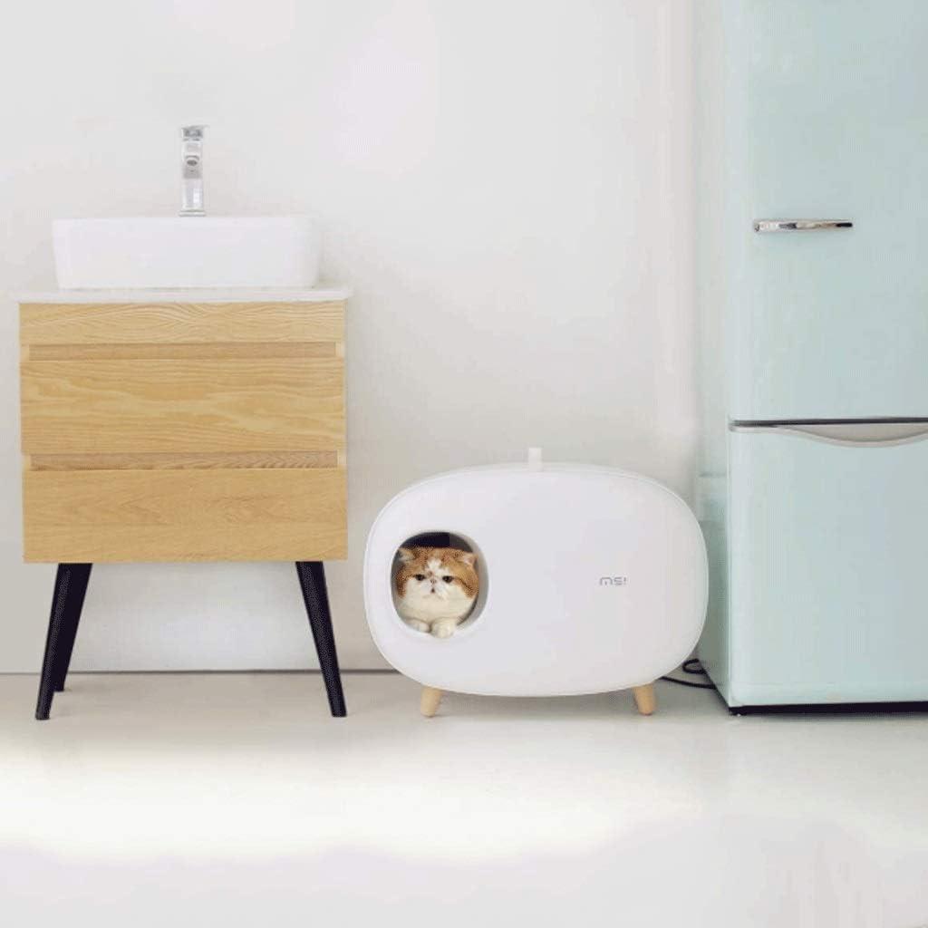 Cat Litter Box Cat House Reusable Deodorant Splash-Proof Easy to Clean Cat Litter Box Litter Box Closed Large,Cat Toilet White