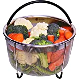 Instant Pot Steamer Basket 6 quart - Pressure Cooker Accessories - Stainless Steel with Silicone Handle and legs - Insert fits perfectly for 6qt or Larger - For steaming vegetables & Hard Boiled eggs