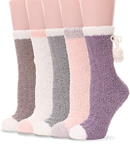 Grils Womens Fuzzy Socks Soft Warm Fluffy Cute Cozy Winter Slipper Christmas Colorful Socks (Mix Color D (5 Pairs)