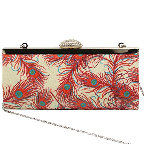 Crystal Handbag Peacock Clutch Party Evening Purse Fashion Wiwsi apricot bag Hot Feather 8EcSqF5Oxw