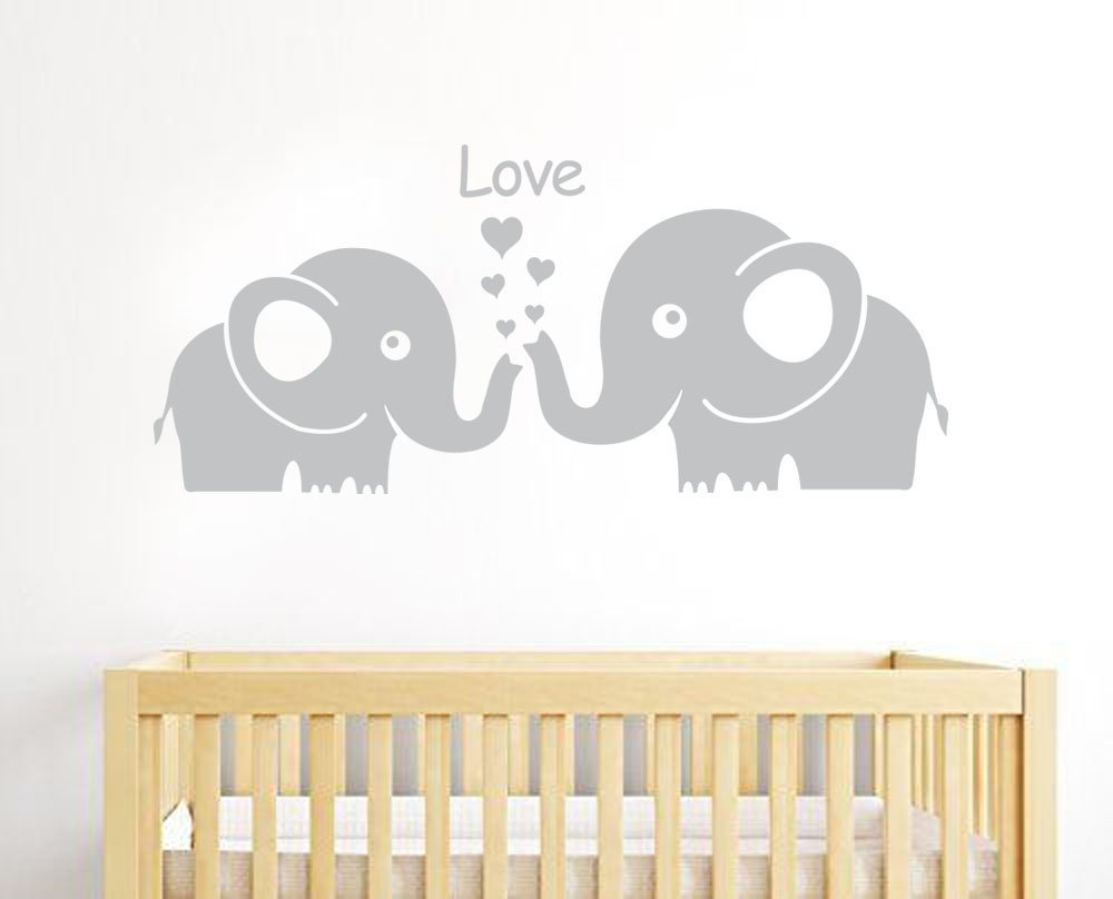 MAFENT Cute Elephant Family With Love Hearts Wall Decals Baby Nursery Decor Kids Room Wall Stickers. Large, Grey