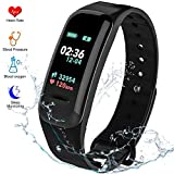 Fitness Tracker HR Activity Tracker - Watch with Blood Pressure Monitor, IP67 Waterproof Activity Tracker with Heart Rate Sleep Monitor Pedometer for Kids and Women Men