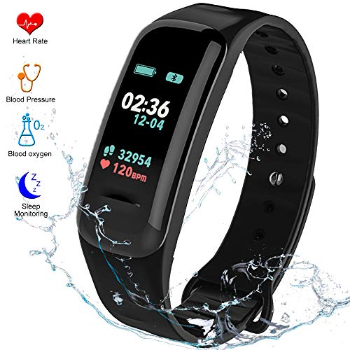 Fitness Tracker HR Activity Tracker - Watch with Blood Pressure Monitor, IP67 Waterproof Activity Tracker with Heart Rate Sleep Monitor Calorie Pedometer for Men Kids and Women (Black)