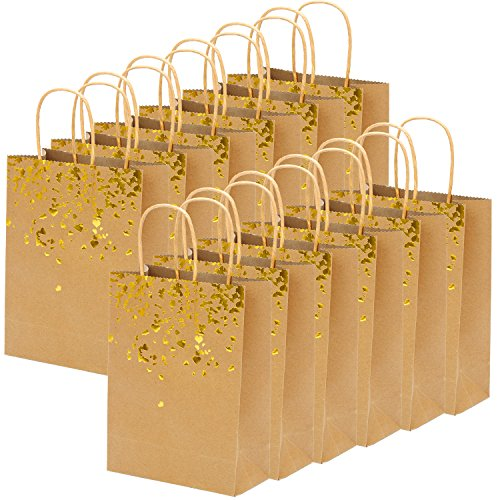 Coobey 18 Pieces Paper Bags Bronzing Kraft Bag Hen Party Bags Bride Gift Birthday Bag with Handle for Wedding Parties Keepsake Night Celebrations (Bronzing) -