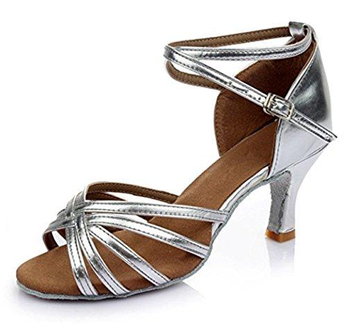 de Mujer Tango Baile Baile Tacón Tacon de B Medio Adulta Salsa Zapatos Zapatos de YOGLY de de Salón Latino Plateado Zapatos 5cm Danza nzWwXIaqpf