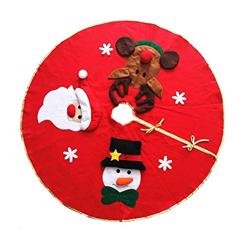 KEYNEW 42 Inches Christmas Tree Skirt with Santa,Snowman and Reindeer,Holiday Decoration