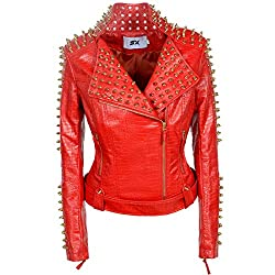 Faux Leather PU Red Jacket With Studded Rivet