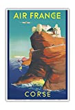 Corse (Corsica) - France - Bonifacio, France - Vintage Airline Travel Poster by Raoul Éric Castel c.1949 - Master Art Print - 13in x 19in