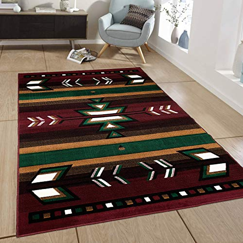 Southwestern Burgundy Area Rug - Maxstock South Western Collection Navajo Classic Design Rectangular Area Rugs -Burgundy/Beige/Dark Green(8 Feet x 10 Feet)