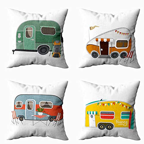 EMMTEEY Holiday Pillow Covers, Set of 4 18X18 Inch Pillow Covers Home Throw Pillow Covers for Sofa You Make Me a Happy Camper Card Happy Camper Card Square Double Sided -