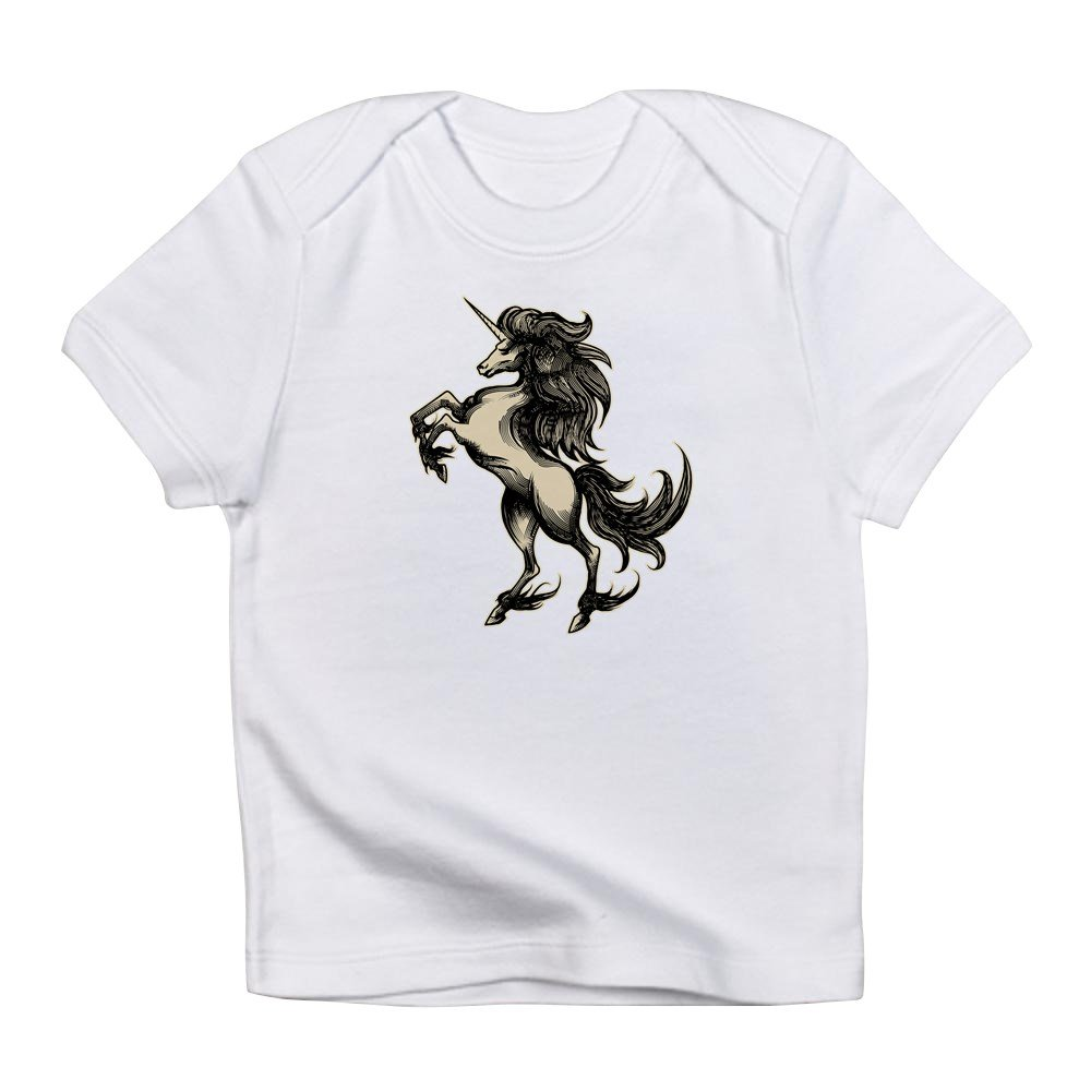 Cloud White 0 To 3 Months Truly Teague Infant T-Shirt Unicorn Heraldry Engraving Style