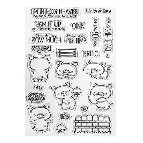 ShapeW Cute Pigs Snow Day Silicone Clear Stamp Scrapbook Album Home Decor Gift Card Kid Adult - Layered Animals