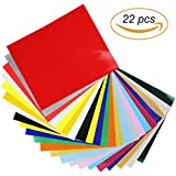 Pantipinky HTV Heat Transfer Vinyl Bundle 12x10-22 Pack of Assorted Colors Best HTV Vinyl for Silhouette Cameo, Cricut, Heat Press - Bonus Teflon Sheet Iron On vinyl for DIY T-shirts