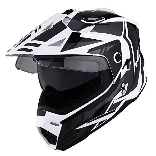 1Storm Dual Sport Motorcycle Motocross Off Road Full Face Helmet Dual Visor Storm Force Black, Size XXL