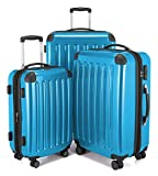 """HAUPTSTADTKOFFER Luggages Sets Glossy Suitcase Sets Hardside Spinner Trolley Expandable (20"""", 24"""" & 28"""") TSA Cyan blue"""