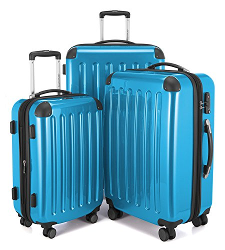 "HAUPTSTADTKOFFER Luggages Sets Glossy Suitcase Sets Hardside Spinner Trolley Expandable (20"", 24"" & 28"") TSA Cyan blue by Hauptstadtkoffer"
