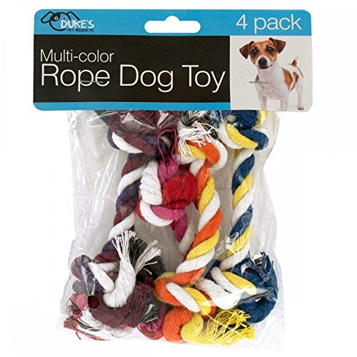 Multi-Color Rope Dog Toy 4 piece Set (Factory Headers)