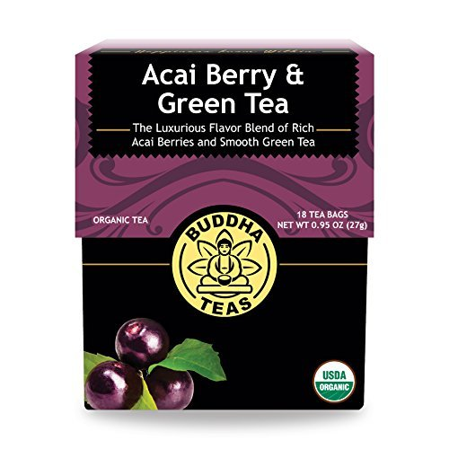 Organic Acai Berry & Green Tea - Kosher, Contains Caffeine, GMO-Free - 18 Bleach-Free Tea Bags