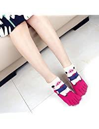 women socks cartoon cat and pig Cotton 5 Toe Socks