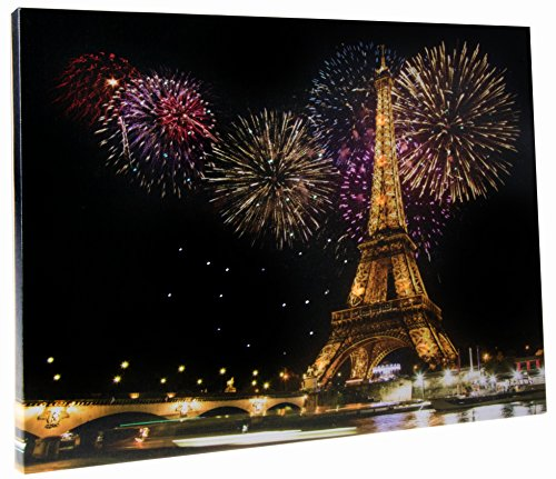 Eiffel Tower LED Light Up Poster by Clever Creations   Beautiful Wall Art with Color Changing LEDs   12